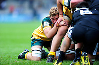 Angus Scott-Young of Australia U20 looks on at a scrum. World Rugby U20 Championship 5th Place Play-Off between Australia U20 and New Zealand U20 on June 25, 2016 at the AJ Bell Stadium in Manchester, England. Photo by: Patrick Khachfe / Onside Images