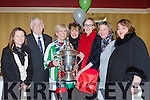 Denise Regan, Tony Fitzgerald FAI President, Rose Derham Cork City, Mary Lyne, Jane O'Donoghue, Amelia Tucker and Suzanne Scully  with the FAI cup at the Killarney Celtic 40th anniversary social in the Killarney Avenue on Friday night