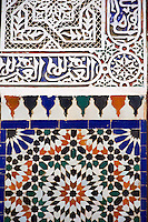 Berber Arabesque Morcabe plasterwok Zellige tiles of the Marrakesh museum in the Dar Menebhi Palace, Marrakesh, Morocco