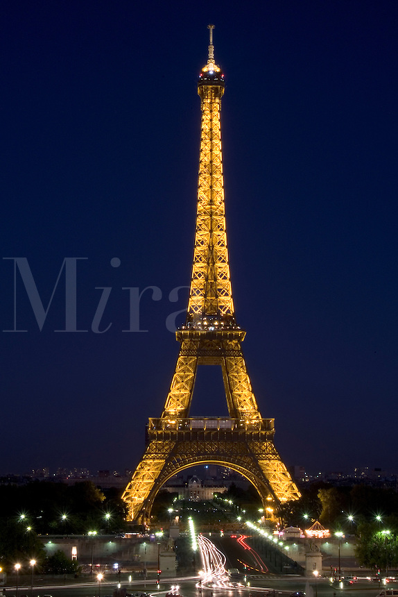 France Night Wonderful color of Eiffel Tower in Paris France