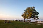 Open Space Park and Clinch Marina, Lake Michigan in Traverse City, Michigan, MI, USA