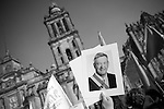 Friday December 1st, 2006,  Mexico City, Mexico.&amp;#xA; Former presidential candidate, and self declared president elect, Manuel Lopez Obrador held a rally in the zocalo of Mexico City on the morning of the official inauguration of Felipe Calderon to reaffirm his claims of electoral fraud and for a show of strength to his thousands of supporters.<br />