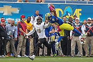 Newark, DE - October 29, 2016: Delaware Fightin Blue Hens defensive back Nasir Adderley (23) intercepts a pass during game between Towson and Delware at  Delaware Stadium in Newark, DE.  (Photo by Elliott Brown/Media Images International)