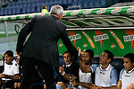 Calcio, Serie A: Lazio vs Genoa. Roma, stadio Olimpico, 23 settembre 2012..Lazio coach Vladimir Petkovic, of Bosnia, greets reserve players prior to the start of the Italian Serie A football match between Lazio and Genoa at Rome's Olympic stadium, 23 September 2012..UPDATE IMAGES PRESS/Riccardo De Luca