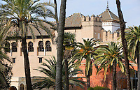 General view of Real Alcazar from the Gardens, Seville, Spain, with the Patio de las Doncellas (Courtyard of the Maidens) in the background, pictured on December 27, 2006, in the afternoon. The Real Alacazar was commissioned by Pedro I of Castile in 1364 to be built in the Mudejar style by Moorish craftsmen. The palace, built on the site of an earlier Moorish palace, is a stunning example of the style and a UNESCO World Heritage site. Picture by Manuel Cohen.
