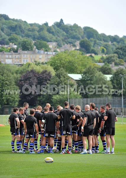The Bath squad. Pre-season friendly match, between Bath Rugby and London Welsh on August 11, 2012 at the Recreation Ground in Bath, England. Photo by: Patrick Khachfe / Onside Images