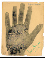 BNPS.co.uk (01202) 558833.Picture: collect..The handprint of Marlene Dietrich, actress..An incredible collection of signed handprints of famous names from 1920s Germany including Albert Einstein and Marlene Deitrich has come to light. Prints of composers Richard Strauss and Igor Stravinsky, filmmaker Fritz Lang, painter Max Liebermann, playwright Bertolt Brecht and gay rights pioneer Magnus Hirschfeld also feature in the fascinating set by German palmist Marianne Raschig. ..She spent 60 years taking more than 2,000 handprints of around 1,000 leading artists, actors, scientists, musicians and writers in Berlin. Raschig collected the handprints between the 1870s and 1930s for a study into what the lines and shapes of hands could reveal about a person's character. Her collection is now set to sell for more than £90,000 at auction.