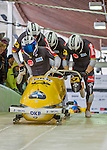 9 January 2016: Germany pilot Francesco Friedrich leads his 4-man team as they push off their first start of the day at the BMW IBSF World Cup Bobsled Championships at the Olympic Sports Track in Lake Placid, New York, USA. Friedrich's team ended the day in 6th place with a 2-run combined time of 1:50.19. Mandatory Credit: Ed Wolfstein Photo *** RAW (NEF) Image File Available ***