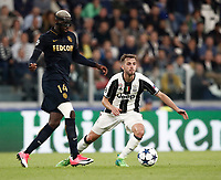 Football Soccer: UEFA Champions League semifinal second leg Juventus - Monaco, Juventus stadium, Turin, Italy,  May 9, 2017. <br /> Juventus' Miralem Pjanic (r) in action with Monaco's Tiemou&eacute; Bakayoko (l) during the Uefa Champions League football match between Juventus and Monaco at Juventus stadium, on May 9, 2017.<br /> UPDATE IMAGES PRESS/Isabella Bonotto