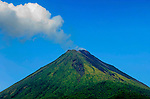 The Very Active Arenal Volcano Emits Plumes Of Steam And Gas Over The Town Of La Fortuna, Costa Rica.