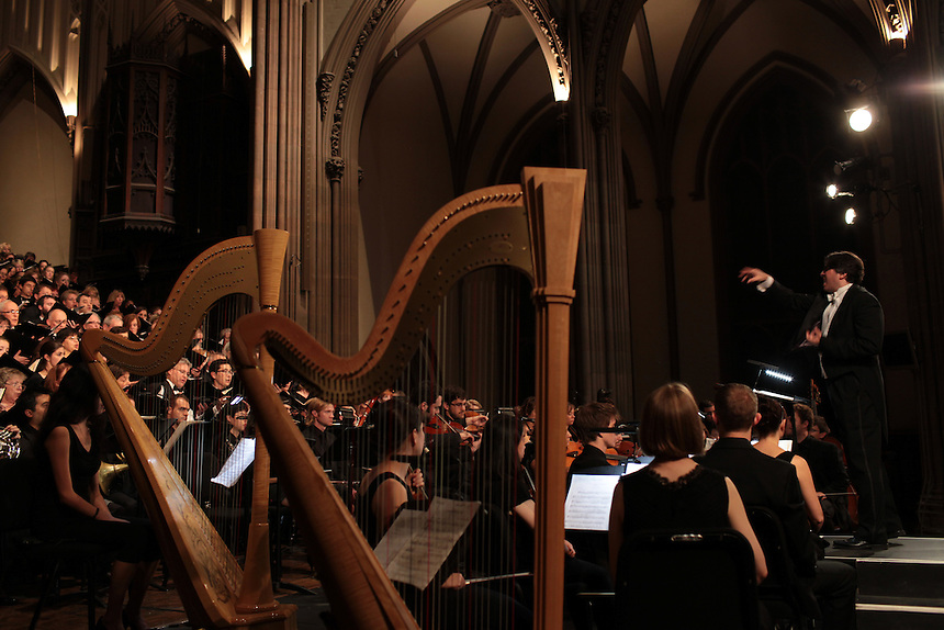 Trinity Choir conductor Julian Wachner with the Ein Deutches Requiem by Johannes Brahms during Remember to Love: Let Us Love One Another With A Sincere Heart, an observation of the 10th Anniversary of September 11 at Trinity Church in Manhattan, NY on September 09, 2011. The six choirs performing include NYC Master Chorale, Trinity Choir, Young People's Chorus of New York City, The Washington Chorus, The Bach Choir of Bethlehem and The Copley Singers.