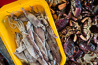 Fresh squids and crabs for sale are seen at Chorrillos seafood and fish market in Lima, Peru, 31 March 2013.