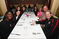7 April 2008: Stanford Cardinal (clockwise from closest to camera) assistant coach Bobbie Kelsey, coaching intern Jackie Zink, associate head coach Amy Tucker, assistant coach Kate Paye, athletic trainer Marcella Shorty, associate athletic director Scott Schuhmann, and video coordinator Evan Unrau during Stanford's private dinner hosted by athletic director Bob Bowlsby in congratulation for making the 2008 NCAA Division I Women's Basketball Final Four championship game at the Side Bern's restaurant in Tampa Bay, FL.