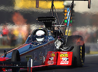 Nov 11, 2016; Pomona, CA, USA; NHRA top fuel driver Shawn Reed during qualifying for the Auto Club Finals at Auto Club Raceway at Pomona. Mandatory Credit: Mark J. Rebilas-USA TODAY Sports