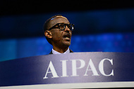 Washington, DC - March 26, 2017: Rwandan President Paul Kagame addresses attendees of the AIPAC Policy Conference March 26, 2017 at the Washington Convention Center in the District of Columbia. (Photo by Don Baxter/Media Images International)