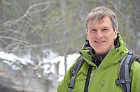 """Tracker Dan"" enjoying the trail through the ice-walk of Maligne Canyon..."