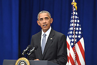 United States President Barack Obama holds a press conference about the recent bombing in the New York region at the Lotte New York Palace Hotel in New York, New York, on September 19, 2016. On the evening of September 17, 2016, a bomb placed in a dumpster exploded in lower Manhattan injuring at least 29 people. <br /> Credit: Anthony Behar / Pool via CNP /MediaPunch