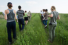 June 8, 2015; Gary Belovsky, director of UNDERC-West, leads students on a tour at Glacial Ridge Tallgrass Prairie Preserve in Minnesota. (Photo by Barbara Johnston/University of Notre Dame)
