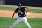 Ole Miss' Blair Wright (37) pitches at Oxford-University Stadium in Oxford, Miss. on Sunday, March 20, 2011.  (AP Photo/Oxford Eagle, Bruce Newman)