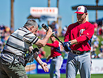 14 March 2014: Washington Nationals catcher Koyie Hill is posed by photographer Steve Moore prior to a Spring Training game against the Detroit Tigers at Joker Marchant Stadium in Lakeland, Florida. The Tigers defeated the Nationals 12-6 in Grapefruit League play. Mandatory Credit: Ed Wolfstein Photo *** RAW (NEF) Image File Available ***