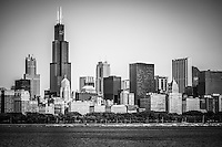 Black and white photo of Chicago skyline with Sears Tower (Willis Tower) one of the tallest buildings in the world.