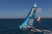 FRANCE, Belle Ile. 1st July 2012. Volvo Ocean Race, Leg 9 Lorient-Galway. Team Telefonica  and Camper with Emirates Team New Zealand.