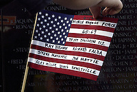 Jun 14, 2004; Washington DC, Washington, USA;  Vietnam Veterans War Memorial names of current fallen soldiers added written on an American flag inside the Constituion Gardens. Landmark statue location.