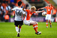 Blackpool's Mark Cullen is challenged by Luton Town's Alan Sheehan<br /> <br /> Photographer Richard Martin-Roberts/CameraSport<br /> <br /> The EFL Sky Bet League Two Play-Off Semi Final First Leg - Blackpool v Luton Town - Sunday May 14th 2017 - Bloomfield Road - Blackpool<br /> <br /> World Copyright &copy; 2017 CameraSport. All rights reserved. 43 Linden Ave. Countesthorpe. Leicester. England. LE8 5PG - Tel: +44 (0) 116 277 4147 - admin@camerasport.com - www.camerasport.com