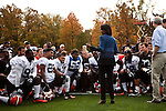 Condoleeza Rice talks to the Cleveland Browns on their practice field in Berea, Ohio, October 17, 2012.