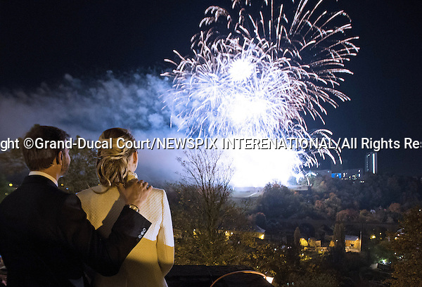 "CROWN PRINCE GUILLAUME AND WIFE COUNTESS STEPHANIE.watch a fireworks display in celebration of their nuptials, Luxembourg_20-10-2012.Mandatory credit photo: ©Grand-Ducal Court/Guy Wolff//NEWSPIX INTERNATIONAL..(Failure to credit will incur a surcharge of 100% of reproduction fees)..                **ALL FEES PAYABLE TO: ""NEWSPIX INTERNATIONAL""**..IMMEDIATE CONFIRMATION OF USAGE REQUIRED:.Newspix International, 31 Chinnery Hill, Bishop's Stortford, ENGLAND CM23 3PS.Tel:+441279 324672  ; Fax: +441279656877.Mobile:  07775681153.e-mail: info@newspixinternational.co.uk"
