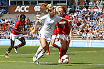 06 October 2013: North Carolina's Kealia Ohai (7) and Maryland's Shannon Collins (73). The University of North Carolina Tar Heels hosted the University of Maryland Terrapins at Fetzer Field in Chapel Hill, NC in a 2013 NCAA Division I Women's Soccer match. UNC won the game 3-1.