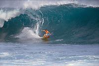 Big wave surfer Ross Clarke Jones (AUS) surfing the lefthander Mataveri during a visit to Easter Island, Chile. Circa 1993. Photo: joliphotos.com