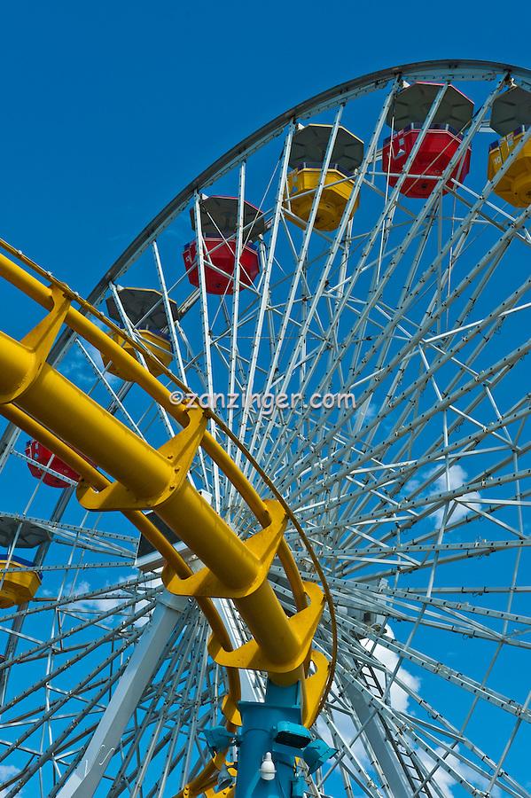 Pacific Park, Pier, Ferris Wheel, Amusement, Santa Monica, CA, Vertical, Detail