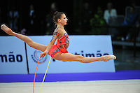 Anastasiya Kisse of Bulgaria (junior) split leaps at 2010 World Cup at Portimao, Portugal on March 11, 2010.  (Photo by Tom Theobald).
