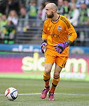 Seattle Sounders goalie Stefan Frei goes for a ball against the Portland Timbers during an MLS match on April 26, 2015 at CenturyLink Field in Seattle, Washington.  Seattle Sounders Clint Dempsey scored a goal to give the Sounders a 1-0 victory over the Timbers. Jim Bryant Photo. ©2015. All Rights Reserved.