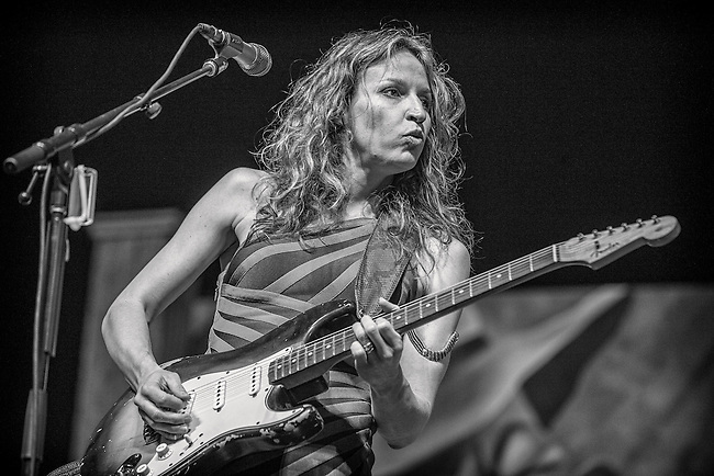 Memphis, Tennessee-based Serbian blues guitarist and singer Ana Popovic of Ana Popovic and Mo' Better Love performs on the Blues Tent Stage during the 2013 New Orleans Jazz & Heritage Music Festival at Fair Grounds Race Course on May 4, 2013 in New Orleans, Louisiana. USA.