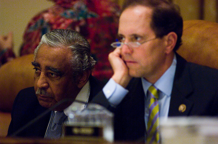 WASHINGTON, DC - July 16: Chairman Charles B. Rangel, D-N.Y., and ranking member Dave Camp, R-Mich., during the House Ways and Means markup of a healthcare overhaul. (Photo by Scott J. Ferrell/Congressional Quarterly)