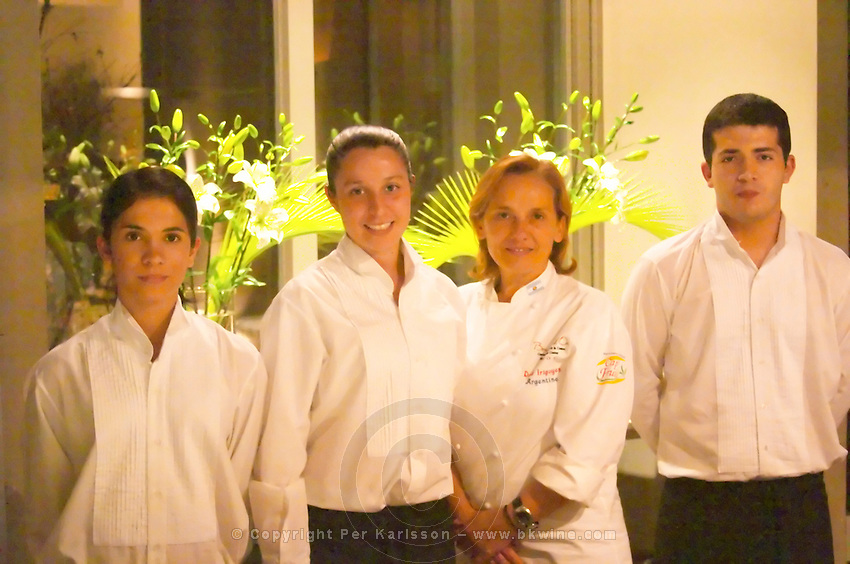 Dolly Irigoyen, famous chef and TV Presenter, with serving staff brigade The Dolly Irigoyen - famous chef and TV presenter - private restaurant, Buenos Aires Argentina, South America Espacio Dolli