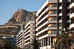Hotel Buildings and Santa Barbara Castle in Alicante, Spain