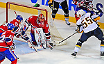 20 December 2008: Montreal Canadiens' goaltender Jaroslav Halak from the Slovak Republic, keeps Buffalo Sabres' center Jochen Hecht from Germany from scoring a goal during the third period at the Bell Centre in Montreal, Quebec, Canada. With both teams coming off wins, the Canadiens extended their winning streak by defeating the Sabres 4-3 in overtime. ***** Editorial Sales Only ***** Mandatory Photo Credit: Ed Wolfstein Photo