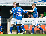 St Johnstone v Hamilton Accies...12.09.15  SPFL McDiarmid Park, Perth<br /> Liam Craig celebrates his goal with Darnell Fisher and David Wotherspoon<br /> Picture by Graeme Hart.<br /> Copyright Perthshire Picture Agency<br /> Tel: 01738 623350  Mobile: 07990 594431