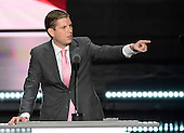 Eric Trump gestures towards his Dad as he begins his remarks at the 2016 Republican National Convention held at the Quicken Loans Arena in Cleveland, Ohio on Wednesday, July 20, 2016.<br /> Credit: Ron Sachs / CNP<br /> (RESTRICTION: NO New York or New Jersey Newspapers or newspapers within a 75 mile radius of New York City)