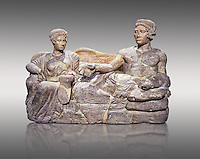 Etruscan cinerary, funreary, urn cover depicting a husband and wife,  from the Padata Necropolis, Chianciano, end of 5th century B.C., inv 94352 National Archaeological Museum Florence, Italy , against grey