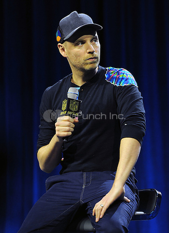 SAN FRANCISCO, CA - FEBRUARY 4: Jonny Buckland of Coldplay at the press conference for the Super Bowl 50 Halftime at the Moscone Center on February 4, 2016 in San Francisco, California. Credit: PGFM/MediaPunch