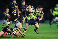 Luke McGrath of Leinster Rugby takes on the Northampton Saints defence. European Rugby Champions Cup match, between Northampton Saints and Leinster Rugby on December 9, 2016 at Franklin's Gardens in Northampton, England. Photo by: Patrick Khachfe / JMP