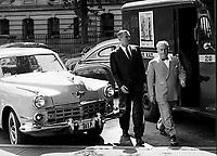 First Secretary of the Air Force Stuart Symington (left) and Sam Rosenman visit President Truman at the White House, Washington D.C. 1950. Photograph by John G. Zimmerman