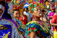 A Colombian woman, wearing a colorful costumes, blows the whistle during the Carnival in Barranquilla, Colombia, 26 February 2006. The Carnival of Barranquilla is a unique festivity which takes place every year during February or March on the Caribbean coast of Colombia. A colourful mixture of the ancient African tribal dances and the Spanish music influence - cumbia, porro, mapale, puya, congo among others - hit for five days nearly all central streets of Barranquilla. Those traditions kept for centuries by Black African slaves have had the great impact on Colombian culture and Colombian society. In November 2003 the Carnival of Barranquilla was proclaimed as the Masterpiece of the Oral and Intangible Heritage of Humanity by UNESCO.