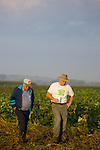 Charles Fry (left) with his dad Jerry Fry (right). The Fry's are 4th and 5th generation farmers...Edamame harvest at the Fry Farm in Tiffin, Ohio.Charles C Fry.American Sweet Bean Company