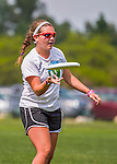 30 May 2015: Lyndon Institute plays BFA Fairfax in the final round of the Girls Division of the VYUL State Ultimate Disk Championships at Milton Senior High School in Milton, Vermont. Lyndon defeated BFA Fairfax to win the Girls Division of the State Championship. Mandatory Credit: Ed Wolfstein Photo *** RAW (NEF) Image File Available ***