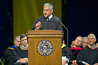 May 17, 2014; Javier Palomarez, president and CEO of U.S. Hispanic Chamber of Commerce, delivers the commencement address during the Mendoza College of Business Graduate Business Diploma Ceremony at the Purcell Pavilion. Photo by Barbara Johnston/University of Notre Dame